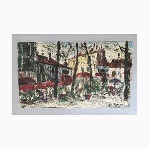 O. Ciaude, La place du marché, 1947, Oil on Cardboard & Canvas