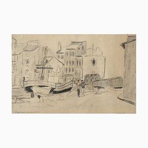 Frank Milo Martigues, Bouches Du Rhône, 1957, Bleistift auf Papier, gerahmt