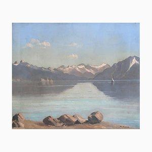 Maurice Junod, Voilier sur le lac Léman, 1923, Huile sur Toile