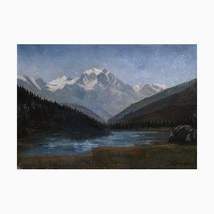 Huile sur Toile Louis Camille Gianoli, Le Mont-Blanc depuis Sallanches, 1937