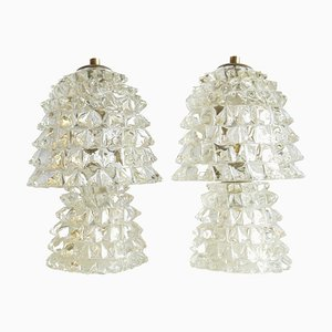 Rostrato Murano Glass Table Lamps from Barovier & Toso, Italy 1940s, Set of 2