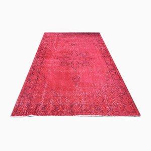 Vintage Turkish Oriental Handmade Overdyed Pink Wool Oushak Area Rug