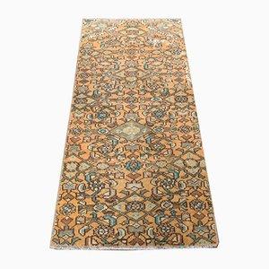 Mini Low Pile Vintage Turkish Oriental Handmade Floral Orange Wool Oushak Rug