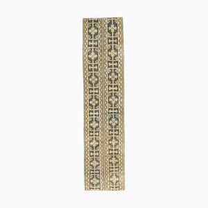 Narrow Vintage Turkish Handmade Wool Oushak Hallway Rug