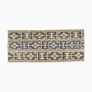 Small Vintage Turkish Handmade Patchwork Wool Oushak Carpet