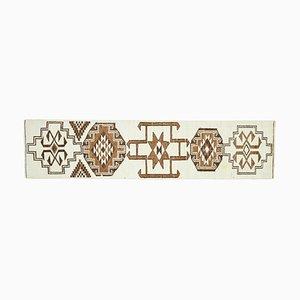 Vintage Turkish Handmade White Wool Oushak Hallway Rug