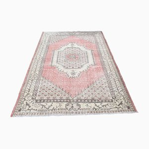Small Vintage Turkish Handmade Muted Colored Wool Oushak Rug
