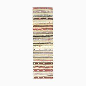 Vintage Turkish Handmade Flatweave Wool Oushak Kilim Runner Rug