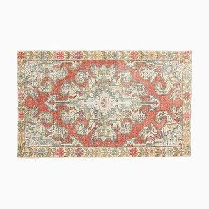 Tappeto Oushak vintage fatto a mano in lana rossa