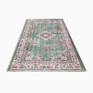 Small Vintage Turkish Handmade Green Wool Oushak Carpet
