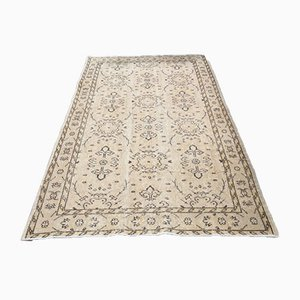 Small Vintage Turkish Handmade Beige Wool Oushak Carpet