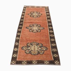 Vintage Turkish Handmade Brown Wool Oushak Ikat Hallway Rug