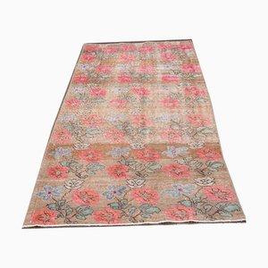 Medium Vintage Turkish Handmade Floral Pink Wool Oushak Accent Rug
