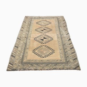 Small Antique Turkish Handmade Orange and Brown Wool Oushak Area Rug