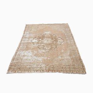Tappeto Oushak vintage fatto a mano in lana beige e marrone con medaglione