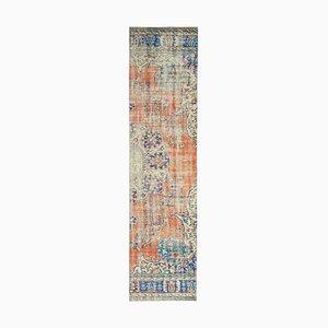 Vintage Turkish Oriental Handmade Wool Oushak Hallway Rug