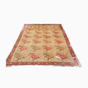 Low Pile Vintage Turkish Oriental Handmade Yellow and Red Floral Wool Oushak Carpet