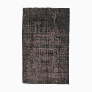 Low Pile Vintage Turkish Modern Handmade Black and Brown Wool Oushak Rug