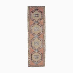Vintage Turkish Handmade Pastel and Red Wool Oushak Hallway Rug