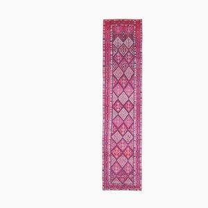 Vintage Turkish Handmade Geometric Patterned Pink and Purple Wool Oushak Runner