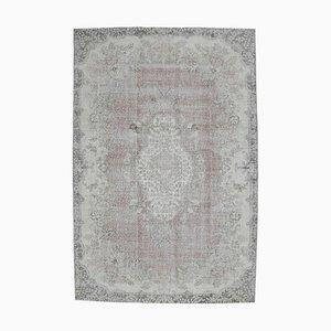 Vintage Turkish Oriental Handmade Floral Wool Oushak Carpet