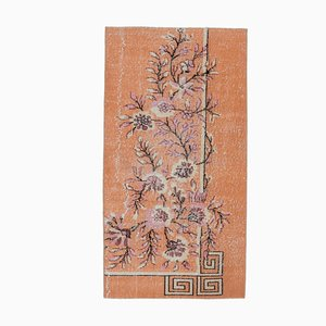 Vintage Turkish Handmade Floral Orange Wool Oushak Runner Rug