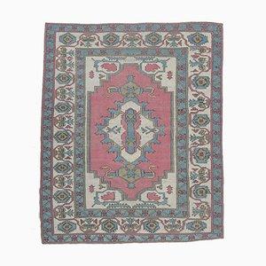 Antiker türkischer orientalischer pinker und türkisfarbener Oushak Teppich