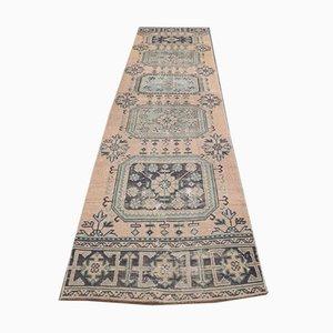 Vintage Turkish Handmade Wool Oushak Hallway Rug