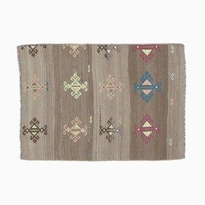 Mini Vintage Turkish Handmade Flatweave Brown Wool Oushak Kilim Rug