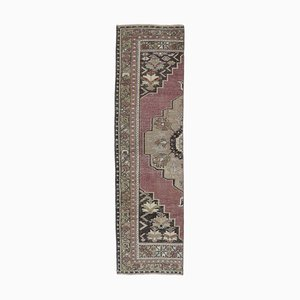 Narrow Vintage Turkish Oriental Handmade Red Wool Oushak Hallway Rug