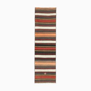 Low Pile Vintage Turkish Handmade Colorful Striped Wool Oushak Kilim Hallway Rug