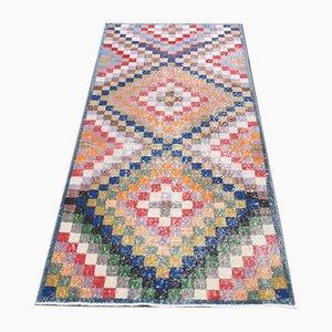 Vintage Turkish Traditional Handmade Colorful Wool Oushak Rug