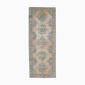 Wide Antique Turkish Handmade Faded Orange Wool Oushak Hallway Rug