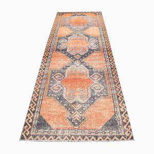 Vintage Turkish Handmade Orange Wool Oushak Hallway Rug