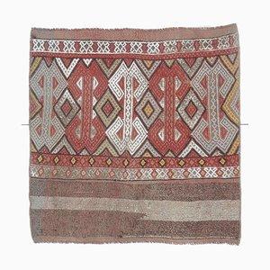 Mini Vintage Turkish Square Handmade Flatweave Copper and Red Wool Oushak Kilim Rug