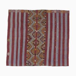 Vintage Turkish Square Handmade Flatweave Red Wool Oushak Kilim Area Rug