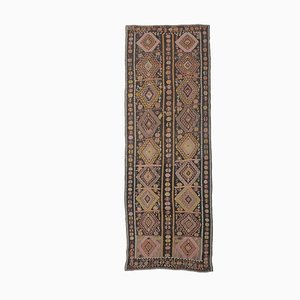 Handgewebter türkischer Vintage Flachgewebe Oushak Kelim Area Teppich in Lila
