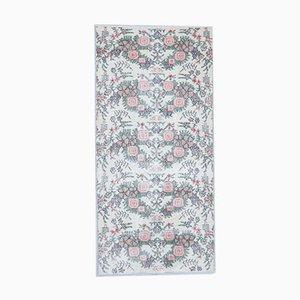 Vintage Turkish Handmade Neutral Floral Wool Oushak Hallway Rug