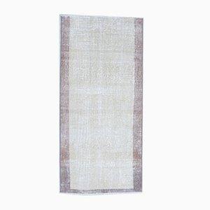 Vintage Turkish Handmade Beige Bordered Wool Oushak Rug