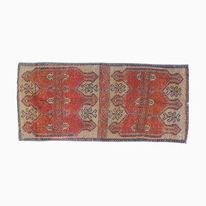 Mini Vintage Turkish Handmade Orange Wool Oushak Rug