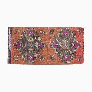 Mini Vintage Türkische Orientalische Handgefertigte Oushak Fußmatte in Orange