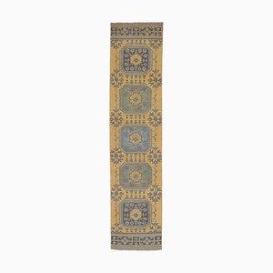 Vintage Runner Turkish Handmade Orange Wool Oushak Hallway Rug