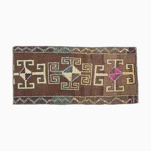 Handgemachter türkischer Mini Vintage Oushak Teppich aus brauner Wolle