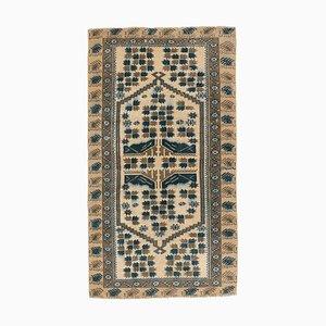 Narrow Vintage Turkish Handmade Beige Wool Oushak Hallway Rug