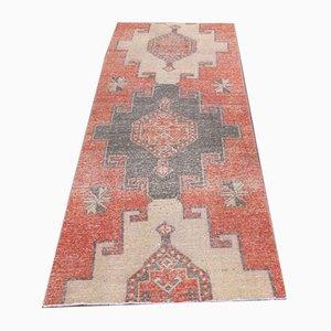 Vintage Turkish Tribal Handmade Red Wool Oushak Hallway Rug