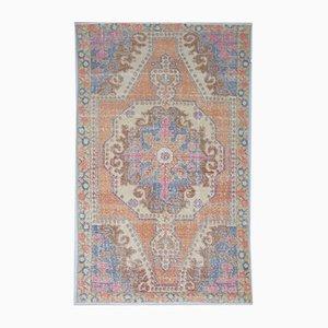 Vintage Middle Eastern Handmade Vibrant Orange Wool Oushak Area Rug