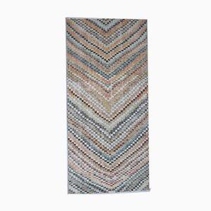 Vintage Turkish Retro Handmade Colorful Wool Check Oushak Rug