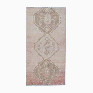 Vintage Turkish Geometric Handmade Red Wool Oushak Hallway Rug