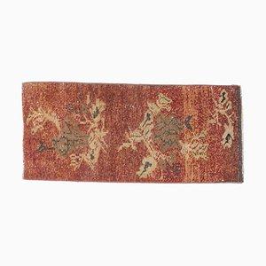Small Vintage Turkish Handmade Burnt Orange Wool Oushak Carpet