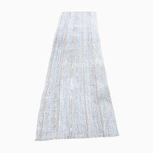 Vintage Turkish Handmade Beige Wool Oushak Kilim Hallway Rug